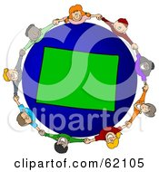 Royalty Free RF Clipart Illustration Of A Circle Of Children Holding Hands Around A Colorado Globe