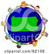 Royalty Free RF Clipart Illustration Of A Circle Of Children Holding Hands Around A Pennsylvania Globe