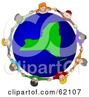 Royalty Free RF Clipart Illustration Of A Circle Of Children Holding Hands Around A New York Globe