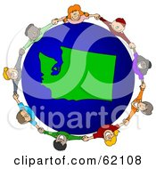 Royalty Free RF Clipart Illustration Of A Circle Of Children Holding Hands Around A Washington Globe