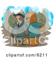 Person Wearing A Bear Costume While Trying To Scare A Female Forest Ranger Clipart Picture