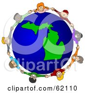 Royalty Free RF Clipart Illustration Of A Circle Of Children Holding Hands Around A Michigan Globe by djart