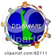 Royalty Free RF Clipart Illustration Of Children Holding Hands In A Circle Around A Delaware Globe by djart