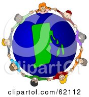 Royalty Free RF Clipart Illustration Of A Circle Of Children Holding Hands Around A Rhode Island Globe by djart
