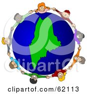 Royalty Free RF Clipart Illustration Of A Circle Of Children Holding Hands Around A Maine Globe by djart