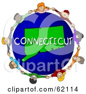 Royalty Free RF Clipart Illustration Of Children Holding Hands In A Circle Around A Connecticut Globe