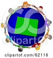 Royalty Free RF Clipart Illustration Of A Circle Of Children Holding Hands Around A Wyoming Globe by djart