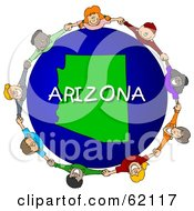 Royalty Free RF Clipart Illustration Of Children Holding Hands In A Circle Around An Arizona Globe