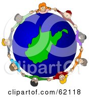 Royalty Free RF Clipart Illustration Of A Circle Of Children Holding Hands Around A West Virginia Globe by djart