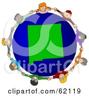 Royalty Free RF Clipart Illustration Of A Circle Of Children Holding Hands Around A New Mexico Globe