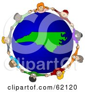Royalty Free RF Clipart Illustration Of A Circle Of Children Holding Hands Around A North Carolina Globe by djart