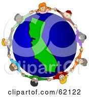 Royalty Free RF Clipart Illustration Of A Circle Of Children Holding Hands Around A California Globe