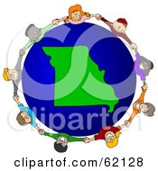 Royalty Free RF Clipart Illustration Of A Circle Of Children Holding Hands Around A Missouri Globe