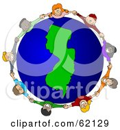 Royalty Free RF Clipart Illustration Of A Circle Of Children Holding Hands Around A New Jersey Globe by djart