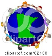 Royalty Free RF Clipart Illustration Of A Circle Of Children Holding Hands Around A Minnesota Globe