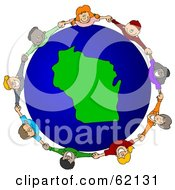 Royalty Free RF Clipart Illustration Of A Circle Of Children Holding Hands Around A Wisconsin Globe