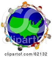Royalty-Free (RF) Clipart Illustration of a Circle Of Children Holding Hands Around A USA Globe by Dennis Cox