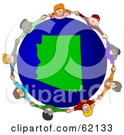 Royalty Free RF Clipart Illustration Of A Circle Of Children Holding Hands Around An Arizona Globe by djart