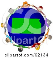 Royalty Free RF Clipart Illustration Of A Circle Of Children Holding Hands Around A Kansas Globe