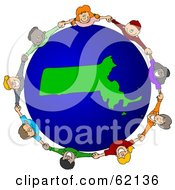 Royalty Free RF Clipart Illustration Of A Circle Of Children Holding Hands Around A Massachusetts Globe