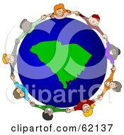 Royalty Free RF Clipart Illustration Of A Circle Of Children Holding Hands Around A South Carolina Globe by djart