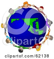 Royalty Free RF Clipart Illustration Of A Circle Of Children Holding Hands Around A Maryland Globe by djart