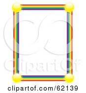 Royalty Free RF Clipart Illustration Of A Blank White Background Bordered By Suns And Rainbow Edges by Maria Bell