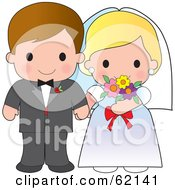 Royalty Free RF Clipart Illustration Of A Cute Bride And Groom Wedding Couple Holding Hands by Maria Bell