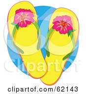 Royalty Free RF Clipart Illustration Of A Pair Of Yellow Flip Flops With Tropical Hibiscus Flowers Over A Blue Circle