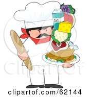 Royalty Free RF Clipart Illustration Of A Male Chef Holding Bread And A Stack Of Food On A Tray by Maria Bell