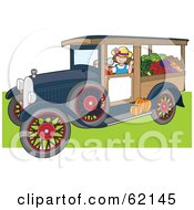 Royalty Free RF Clipart Illustration Of A Friendly Woman Driving An Antique Truck With Produce by Maria Bell