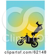Royalty Free RF Clipart Illustration Of A Silhouetted Motocross Biker Catching Air And Doing A Stunt by Maria Bell