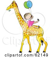 Happy Little Girl Holding Onto Balloons And Riding A Giraffe