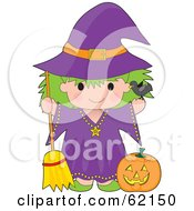 Cute Green Haired Trick Or Treating Witch Girl With A Pumpkin And Broom
