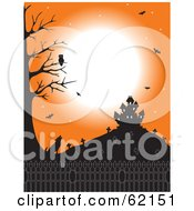 Royalty Free RF Clipart Illustration Of An Owl Over A Howling Coyote Under An Orange Sky With A Cemetery Bats And Haunted House by Maria Bell