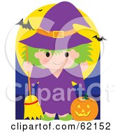 Royalty Free RF Clipart Illustration Of A Cute Little Halloween Witch With A Pumpkin Bats Flying Above