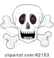 White Human Skull Over Crossbones With An Open Mouth And Red Glowing Eyes