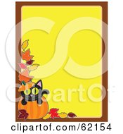 Royalty Free RF Clipart Illustration Of A Blank Yellow Background Bordered In Brown With Autumn Leaves And A Black Cat Popping Out Of A Pumpkin by Maria Bell