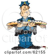 Royalty Free RF Clipart Illustration Of A Hungry Male Cop Eating A Large Submarine Sandwich