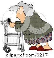 Senior Woman Using A Walker With A Horn Attached Clipart Picture by djart