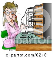 Female Telephone Operator Adjusting Lines Clipart Picture by djart