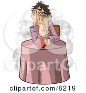 Man Just Waking Up In Need Of A Hot Cup Of Coffee Clipart Picture