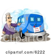 Car Salesman Trying To Sell An Old Rusty Vehicle Clipart Picture