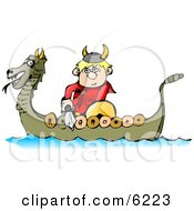 Viking Boy Traveling In A Dragon Boat While Armed With A Sword And Shield