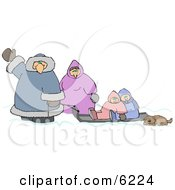 Winter Family Traveling With Their Pet Dog Clipart Picture