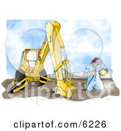 Man Welding On A Metal Pipeline Line Beside A Construction Tractor Clipart Picture
