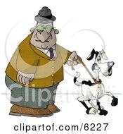 Old Man Walking Dog In Park Clipart Picture
