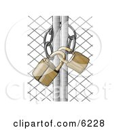 Poster, Art Print Of Padlocked Chain Link Fence Gate