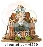 Old Man Sitting In A Recliner Chair Clipart Picture