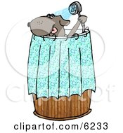 Anthropomorphic Dog Showering Clipart Picture